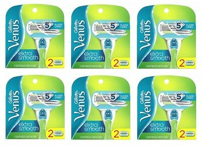 Gillette Venus Extra Smooth 5 Blade Cartridge Refill, 12 Count (6 packs of 2)