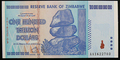 ZIMBABWE 2008 100 Trillion Dollar Note AA SERIES NOTE FRESH FROM PACK  UNC