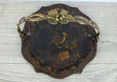 Antique 1800s Toleware Biscuit Tray Chippindale style w Ornate Brass Handle