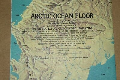 Vintage - NATIONAL GEOGRAPHIC SOCIETY MAPS - MAP of ARCTIC OCEAN FLOOR 1971