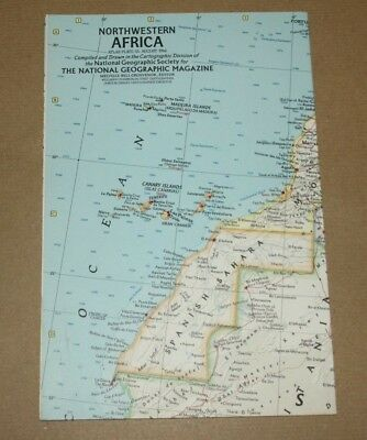Vintage - NATIONAL GEOGRAPHIC SOCIETY MAPS - MAP of NORTH WESTERN AFRICA 1966
