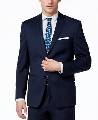 $374 Alfani Men'S 44r Blue Slim Fit Sport Coat 2 Button Jacket Suit Blazer