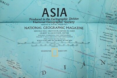 Vintage - NATIONAL GEOGRAPHIC SOCIETY MAPS - MAP of ASIA 1971 -    (91CM X 82CM)