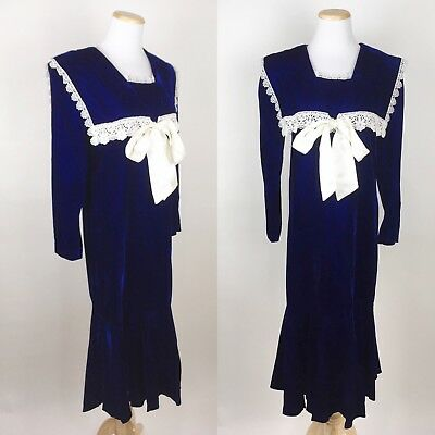VTG 80s GUNNE SAX Navy Blue Velvet Sailor Dress XS/S Lace Ribbon Dropwaist 1920s