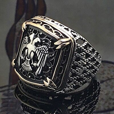 925 Sterling Silver Mens Ring Double Headed Eagle Turkish Ottoman Jewelry us10.5