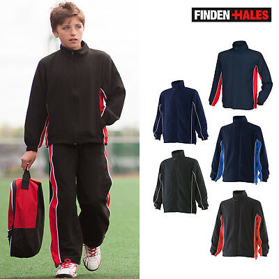 Finden & Hales Kids Piped Track Top LV842-Junior Activewear Sports Zipper Jacket