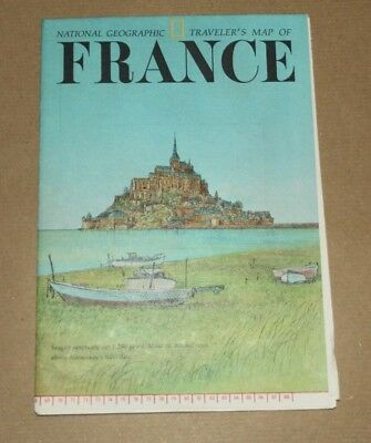 Vintage - NATIONAL GEOGRAPHIC SOCIETY MAPS - TRAVELER'S MAP of FRANCE - 1971