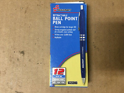 9 PENS -Pack Skilcraft Retractable Ball Point Pens Blue Ink Fine Point