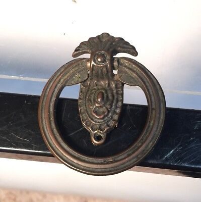 Vintage Art Deco Brass Federal Style Drop Ring Drawer Pull Handle