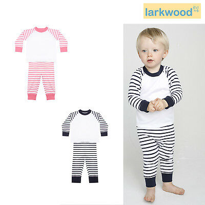 Larkwood Children's Striped Pyjamas LW072 - Kids Crew Neck Dress Soft Baby Suit