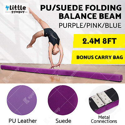 2.45m 8FT Gymnastics Folding Balance Beam Suede/PU Leather 3 COLORS W/ CARRY BAG