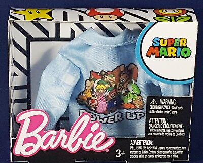 Barbie Super Mario Bros Characters Power Up Blue Jean Denim Jacket Fashion Pack