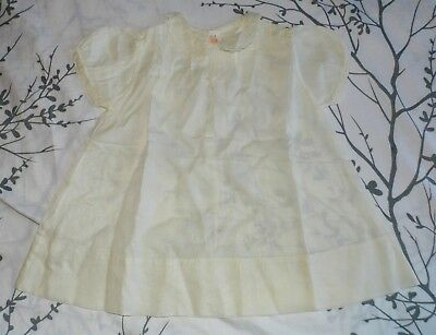Antique 40s 50s White Peter Pan Collar Baby Girl Infant Dress Pink Accents