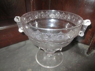 "Antique Pressed Glass Compote w/Two handles  6"" tall, 6"" D, Victorian Card motif"