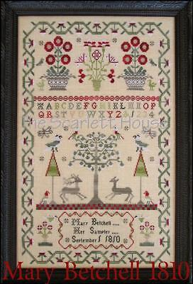 Mary Betchell 1810 Reproduction Sampler Scarlett House Cross Stitch Pattern