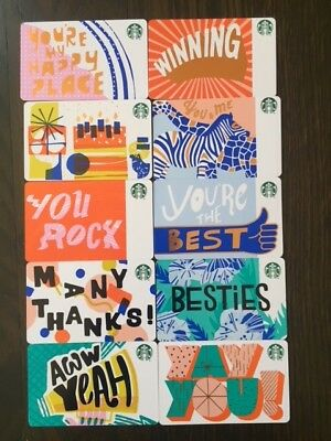 """Canadian Starbucks """"RECYCLABLE CARD SET 2018"""" (10) Cards - New No Value - Eng/Fr"""