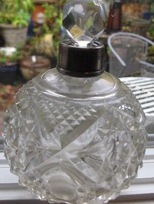 Vintage Cut Glass Crystal Perfume Bottle With Sterling Silver Top