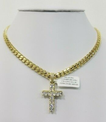 Vvs1 Iced Out Cross With Cuban Chain 14Kt Gold Finish Anti Tarnish High Quality