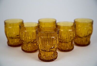 Vintage Amber Tumbler Glasses, Set of (6), Mid Century Modern MCM Made in Italy
