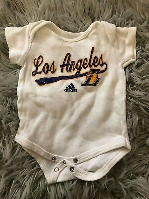 4690ee09bfd NBA Los Angeles Lakers adidas Kids 0-3 Months White One Piece Baby Infant