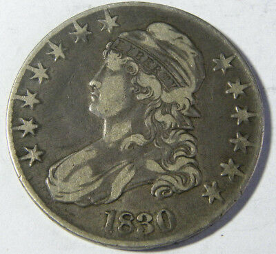 1830 Capped Bust Half Dollar Vf Nicely Toned