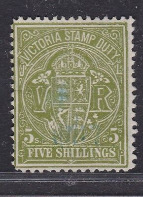 """Victoria Early 5/- Green Qv """"stamp Duty"""" Light Used  (Ge83.2 )"""