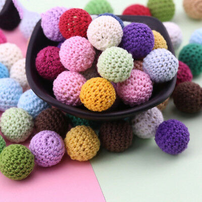 10 x Crochet wood beads 16mm Cream knit wooden teething baby safe jewellery sd