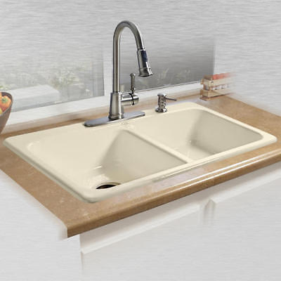 """33"""" Double Bowl 4 Hole Kitchen Sink Top Mount Glossy Biscuit Durable Cast Iron"""