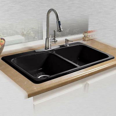 """Glossy Black 33"""" Kitchen Sink Double Bowl 4 Hole Top Mount Durable Cast Iron"""