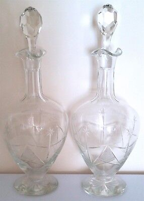 Old Stunning Pair Of Victorian Cut Glass Decanters With Lids