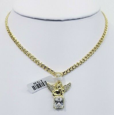 Vvs1 Iced Out Angel With Cuban Chain 14Kt Gold Finish Anti Tarnish High Quality