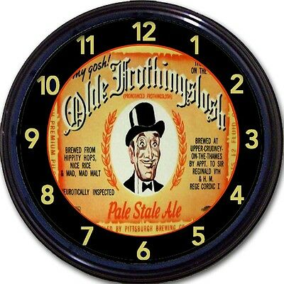 """Olde Frothingslosh Pale Stale Ale Pittsburgh Brewing Co Wall Clock New 10"""""""