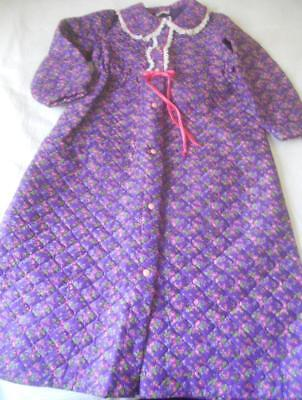 Vintage Retro 1960'S Quilted Purple Pink Flowers Nylon Dressing Gown 16