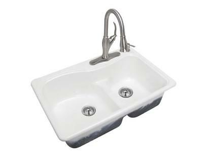 """Glossy White 33"""" Kitchen Sink Cast Iron Top Mount 4 Hole 2 Bowl Self Rimming"""