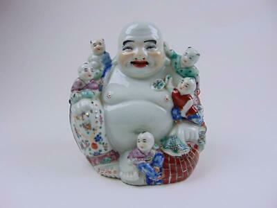 Antique Chinese Famille Rose Porcelain Laughing Buddha, Republic Period