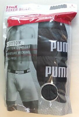 Puma Men's Boxer Briefs Large 36-38 3 Pack Dark Grey Cotton Logo Waist New MP$28