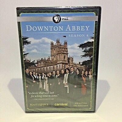 Downton Abbey Season 4 DVD 2014 3-Disc Set PBS Original UK Edition - New, Sealed