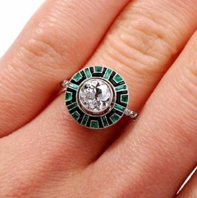 1.85CT Vintage Art Deco Round & Emerald With Enamel Engagement Ring 925 Silver