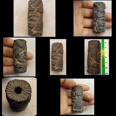 Real Found Roman Ancient Wonderful Seal Stamp Antique Underground Bead  # D m8