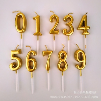 Cute Number 0-9 Happy Birthday Cake Candles Topper Decoration Party Supplies