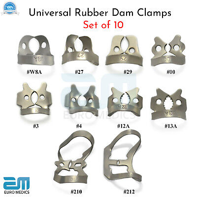 Dental Restorative Set of 10 Rubber Dam Clamps Ainsworth Brewer Winged Colliers