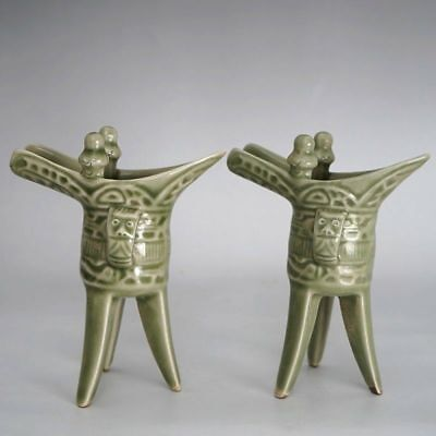 A Pair of Chinese Antique Green Porcelain Winecups Collectable Ceremony Ware