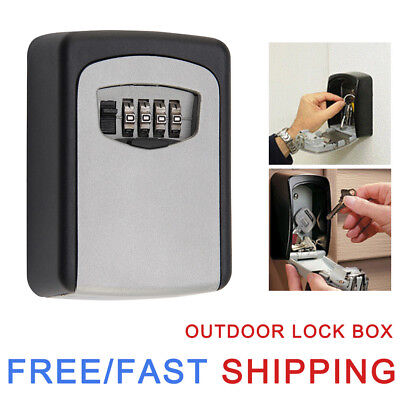 Outdoor High Security Wall Mounted Key Safe Box Code Lock Storage 4 Digit Travel