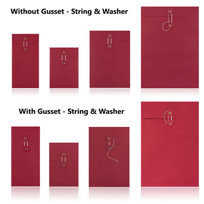 Red - With & W/O Gusset - String & Washer All Size Bottom & Tie Envelopes