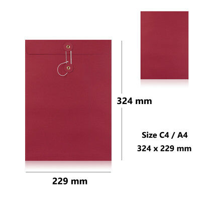 Red - With & W/O Gusset - String & Washer C4 Size Bottom & Tie Envelopes