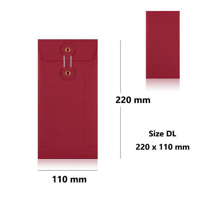 Red - With Gusset - String & Washer DL Size Bottom & Tie Envelopes