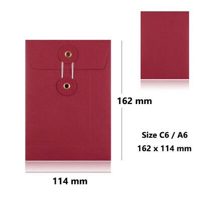 Red - With Gusset - String & Washer C6 Size Bottom & Tie Envelopes
