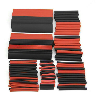 150Pc Red&Black Sleeving Wire Wrap Kits Heat Shrink Tubing Tube Cable Ratio 2:1
