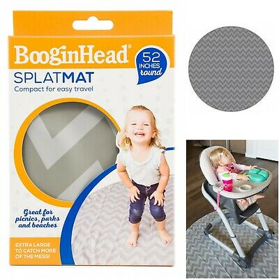 "Booginhead SplatMat - Grey Chevron Highchair Mat, 52"" Round, Durable Floor Mat"