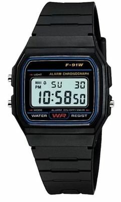 Uk Seller !!! Replacement Casio F-91w Style Wrist Watch Retro Digital - Black